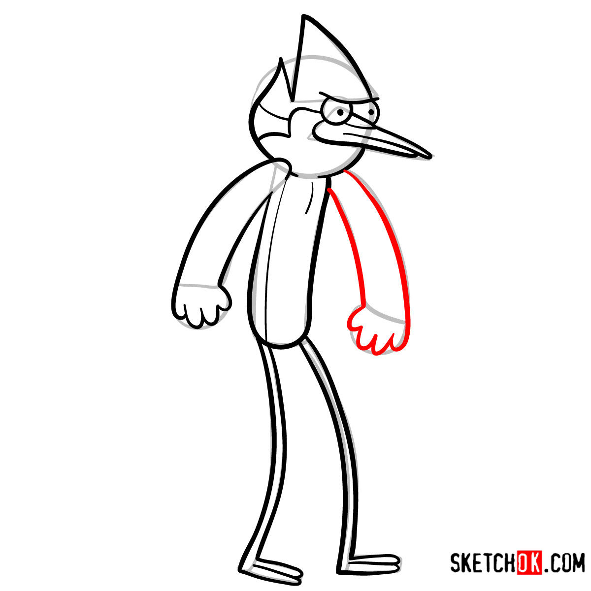 How to draw angry Mordecai step by step - step 08