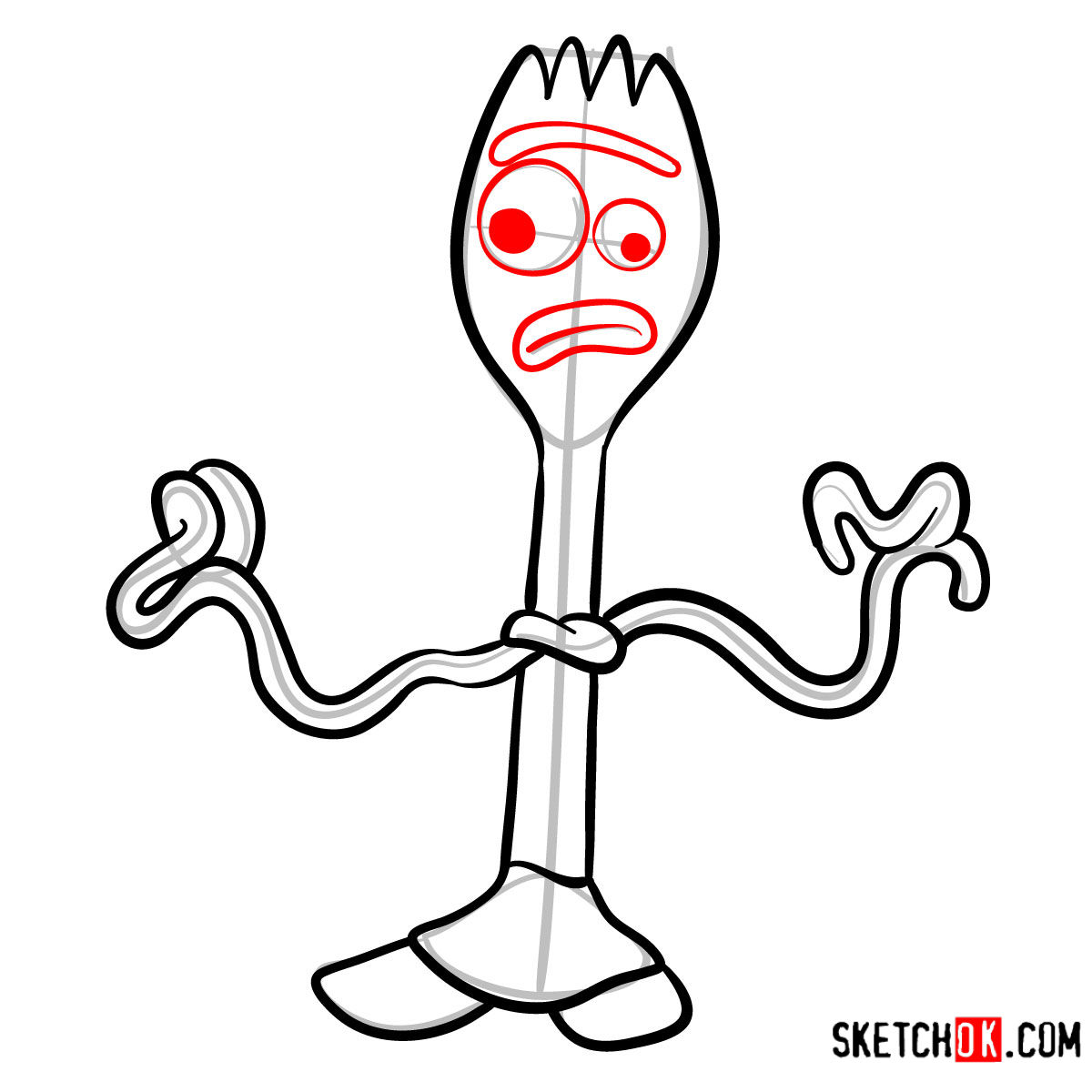How to draw Forky from Toy Story 4 - step 08