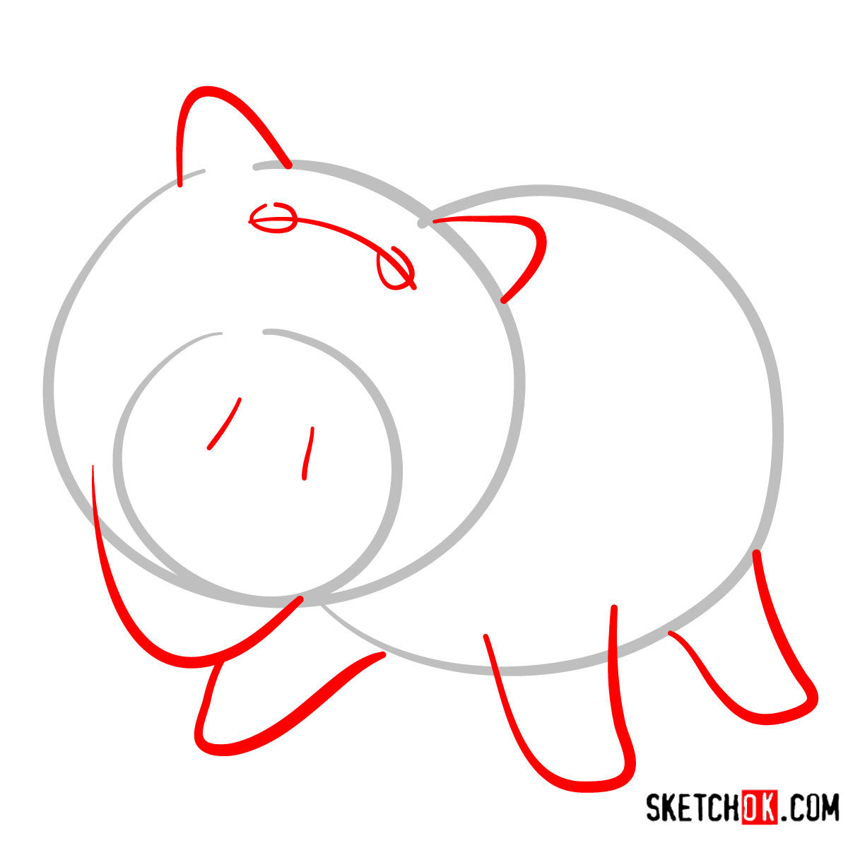 How to draw Hamm from Toy Story - step 02