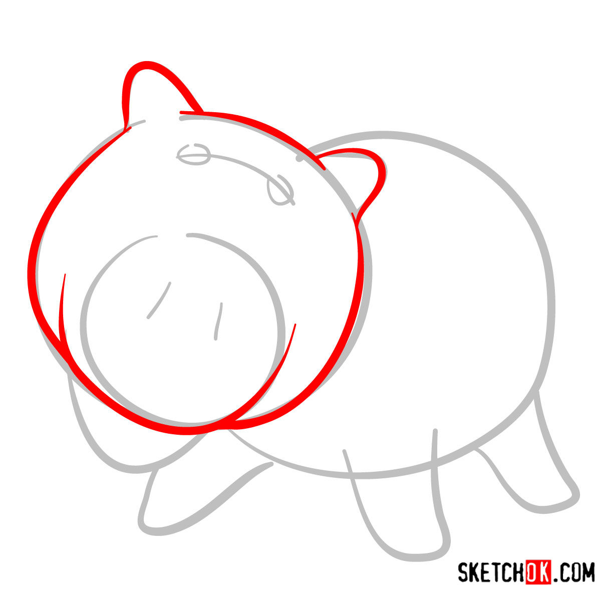 How to draw Hamm from Toy Story - step 03