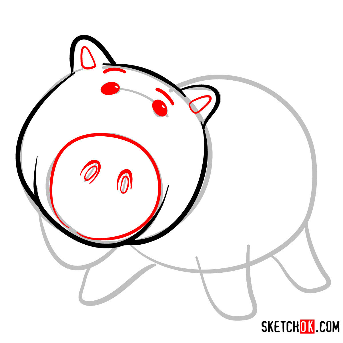 How to draw Hamm from Toy Story - step 04