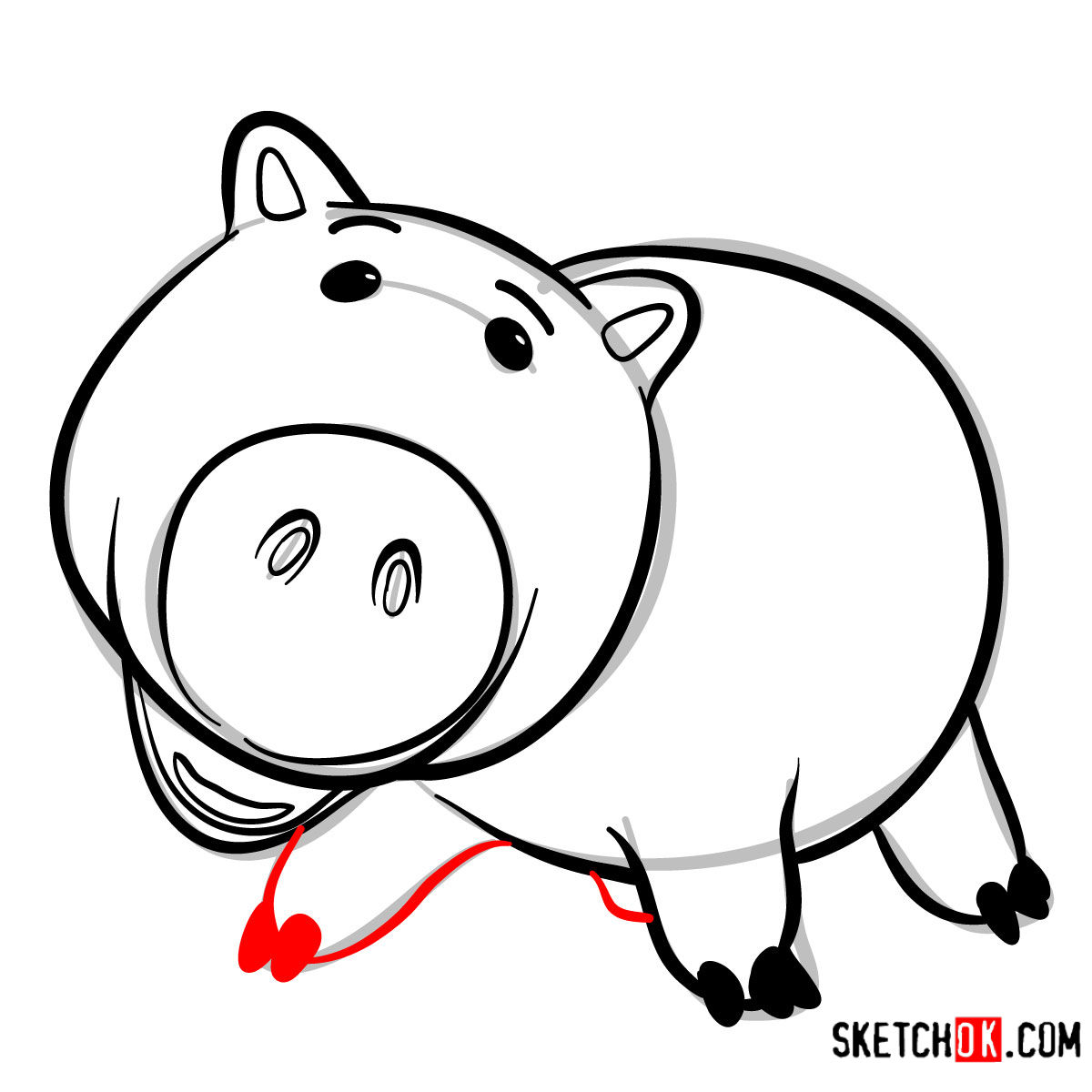 How to draw Hamm from Toy Story - step 08