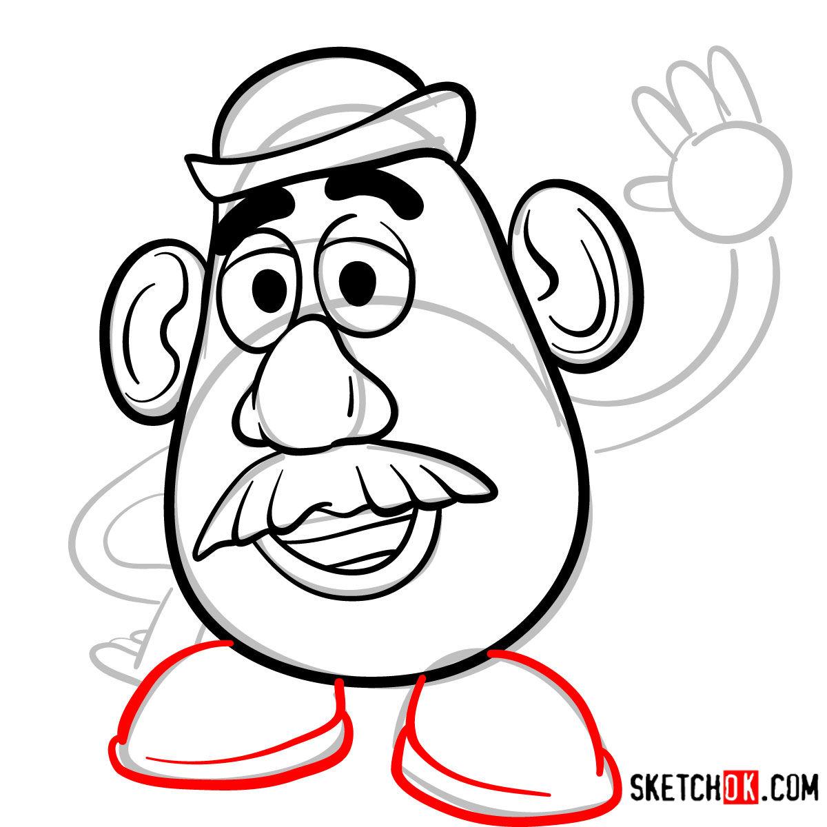 How to draw Mr. Potato Head | Toy Story - step 06