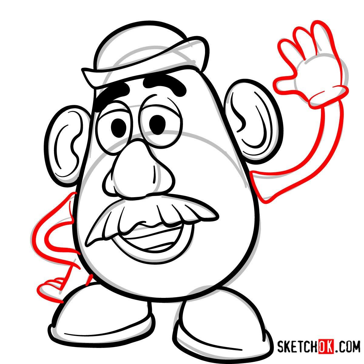 How to draw Mr. Potato Head | Toy Story - step 07