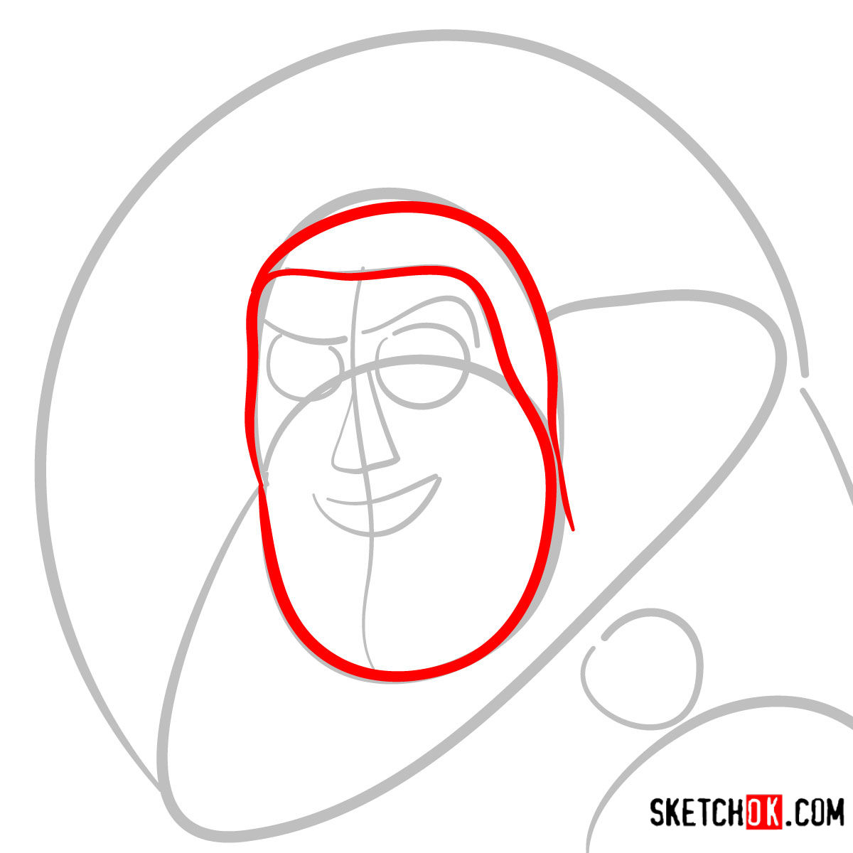 How to draw Buzz Lightyear's face | Toy Story - step 03