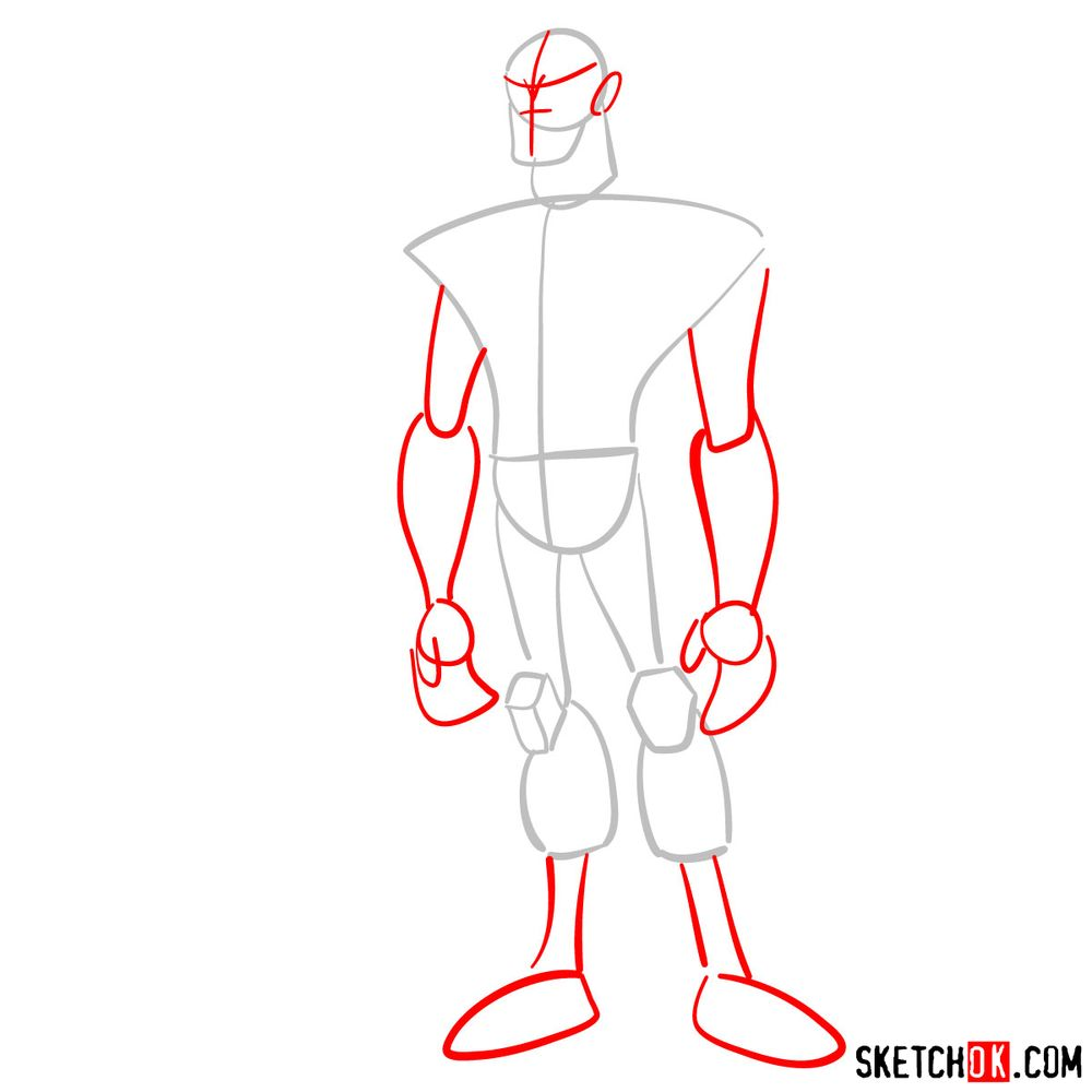 How to draw Rook Blonko from Ben 10 - step 02