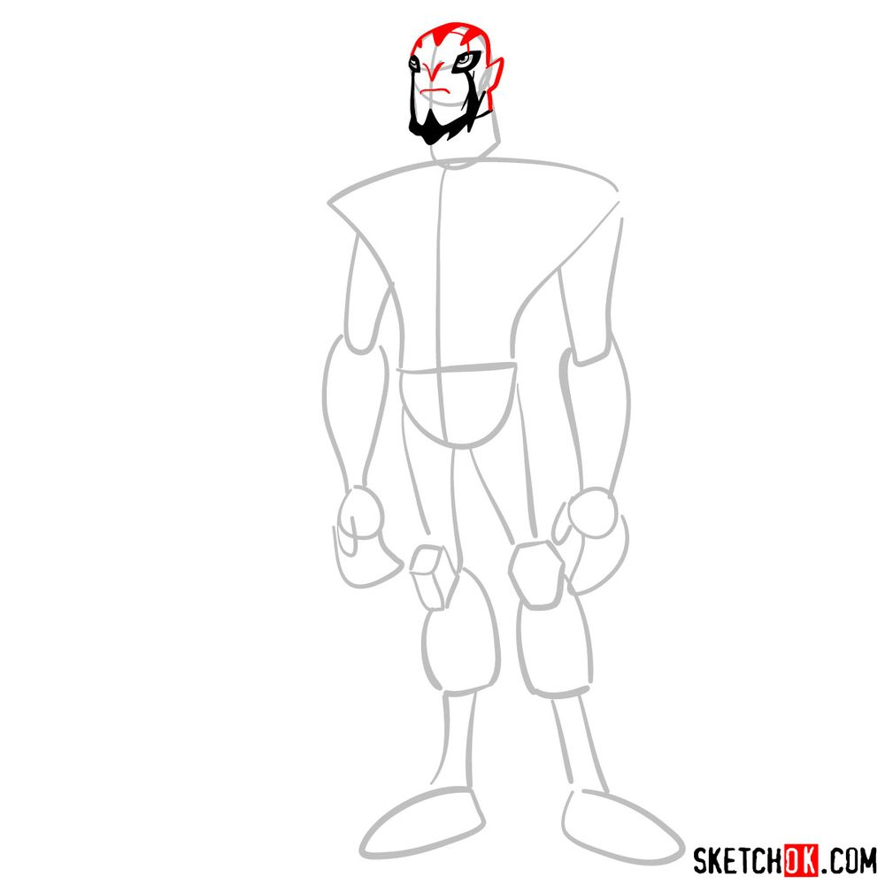 How to draw Rook Blonko from Ben 10 - step 04