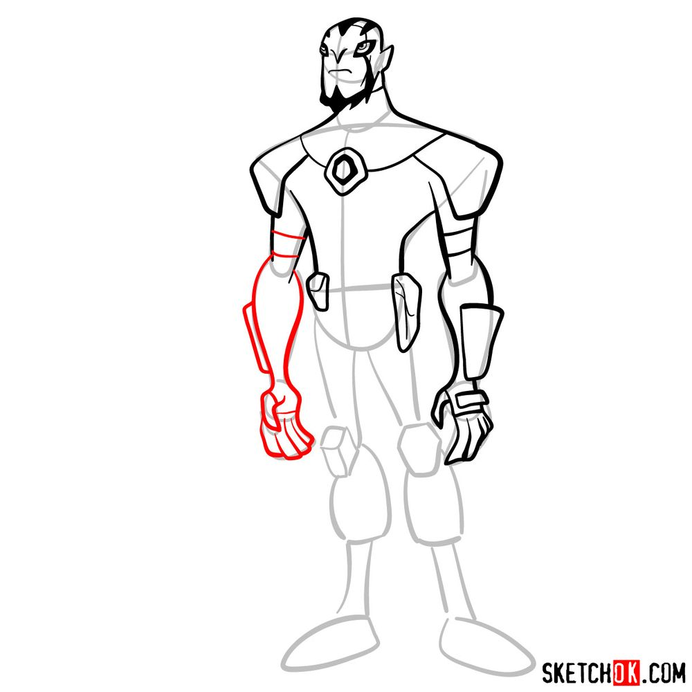 How to draw Rook Blonko from Ben 10 - step 08