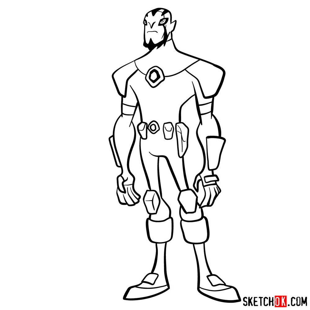 How to draw Rook Blonko from Ben 10 - coloring