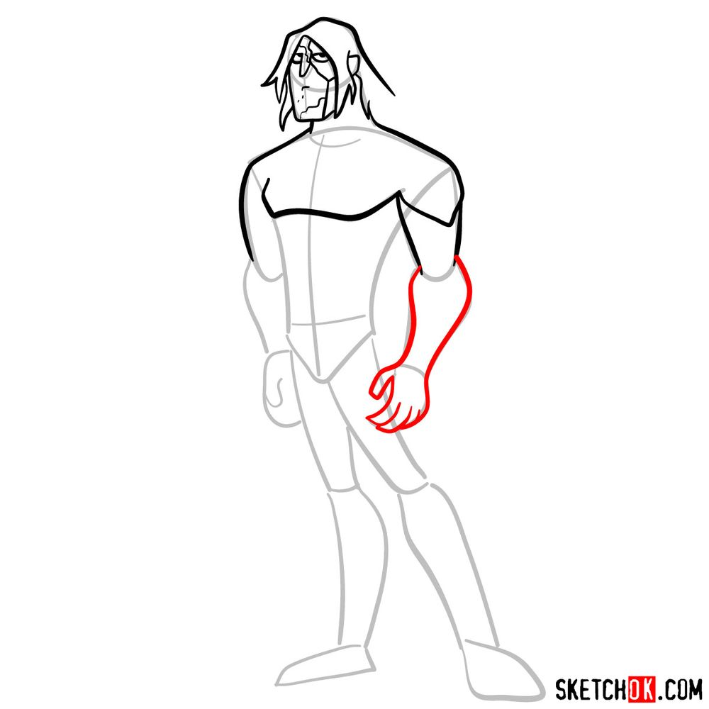 How to draw Ultimate Kevin Levin from Ben 10 - step 07