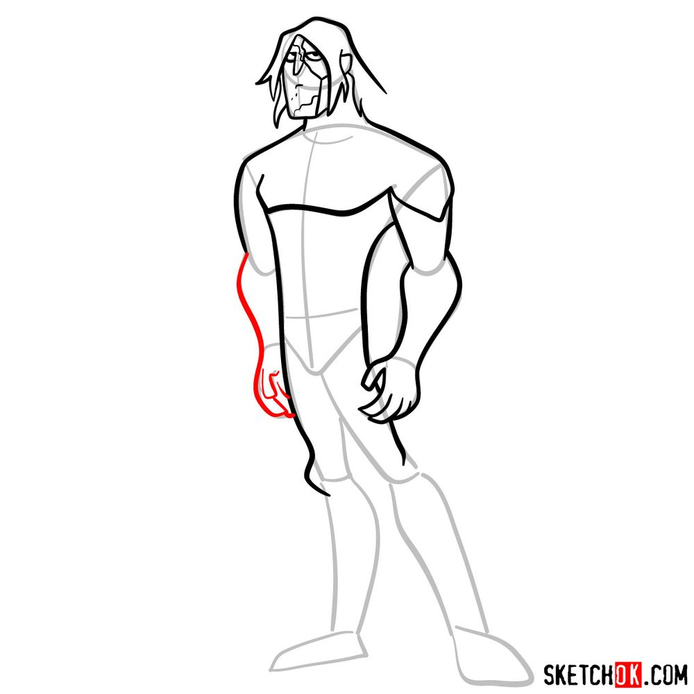 How to draw Ultimate Kevin Levin from Ben 10 - step 09