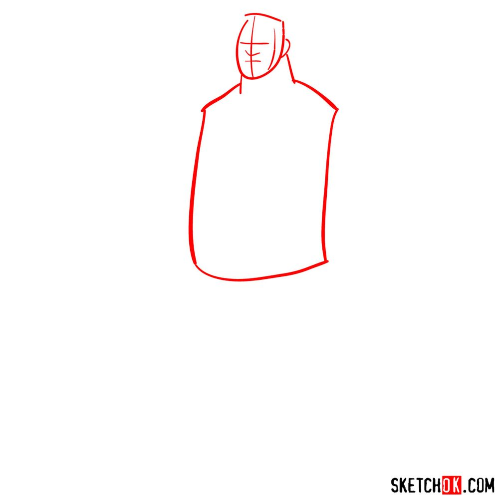 How to draw Max Tennyson (Grandpa Max) - step 01