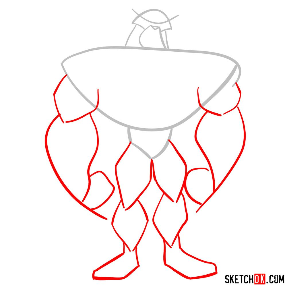 How to draw Rath from Ben 10 - step 02