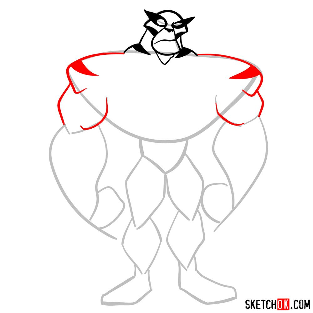 How to draw Rath from Ben 10 - step 05