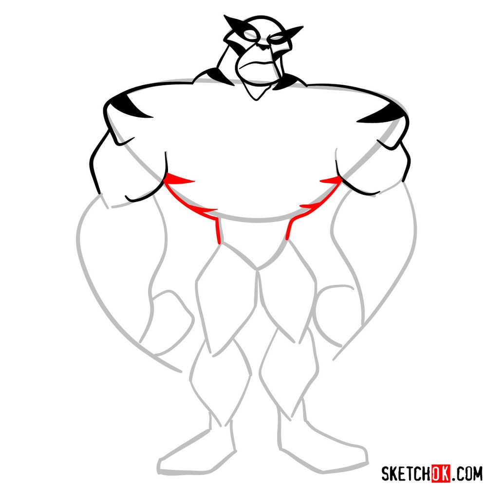 How to draw Rath from Ben 10 - step 06