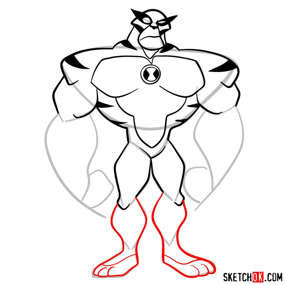 How to draw Rath from Ben 10 - step 09