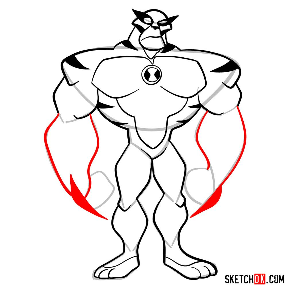 How to draw Rath from Ben 10 - step 10