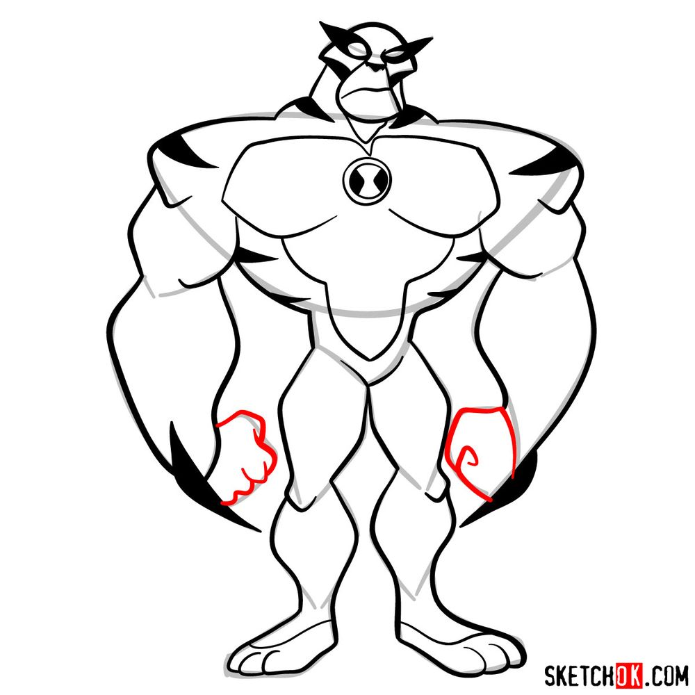 How to draw Rath from Ben 10 - step 11
