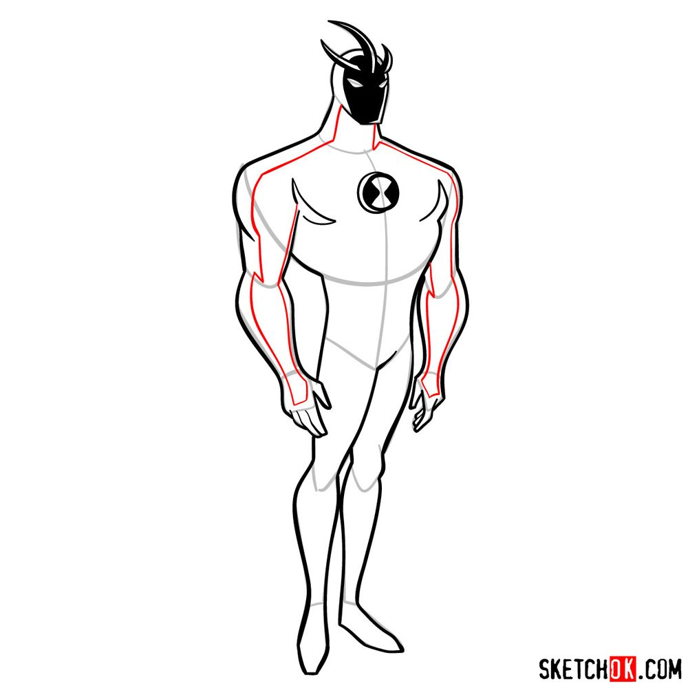 How to draw Alien X from Ben 10 - step 11