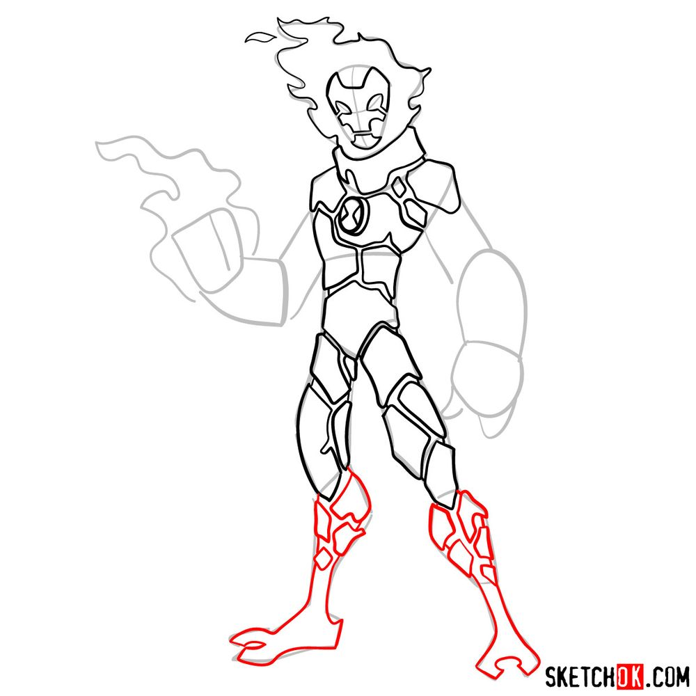 How to draw Heatblast from Ben 10 - step 09