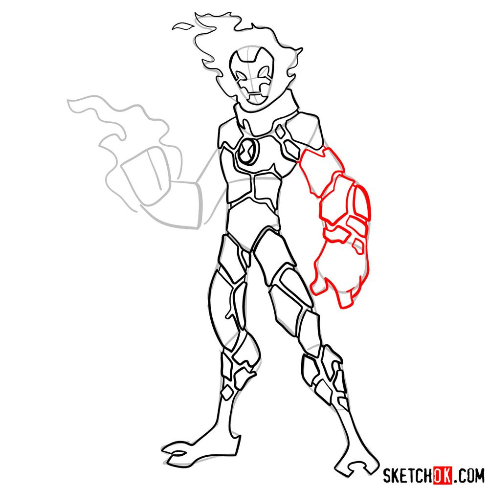 How to draw Heatblast from Ben 10 - step 10