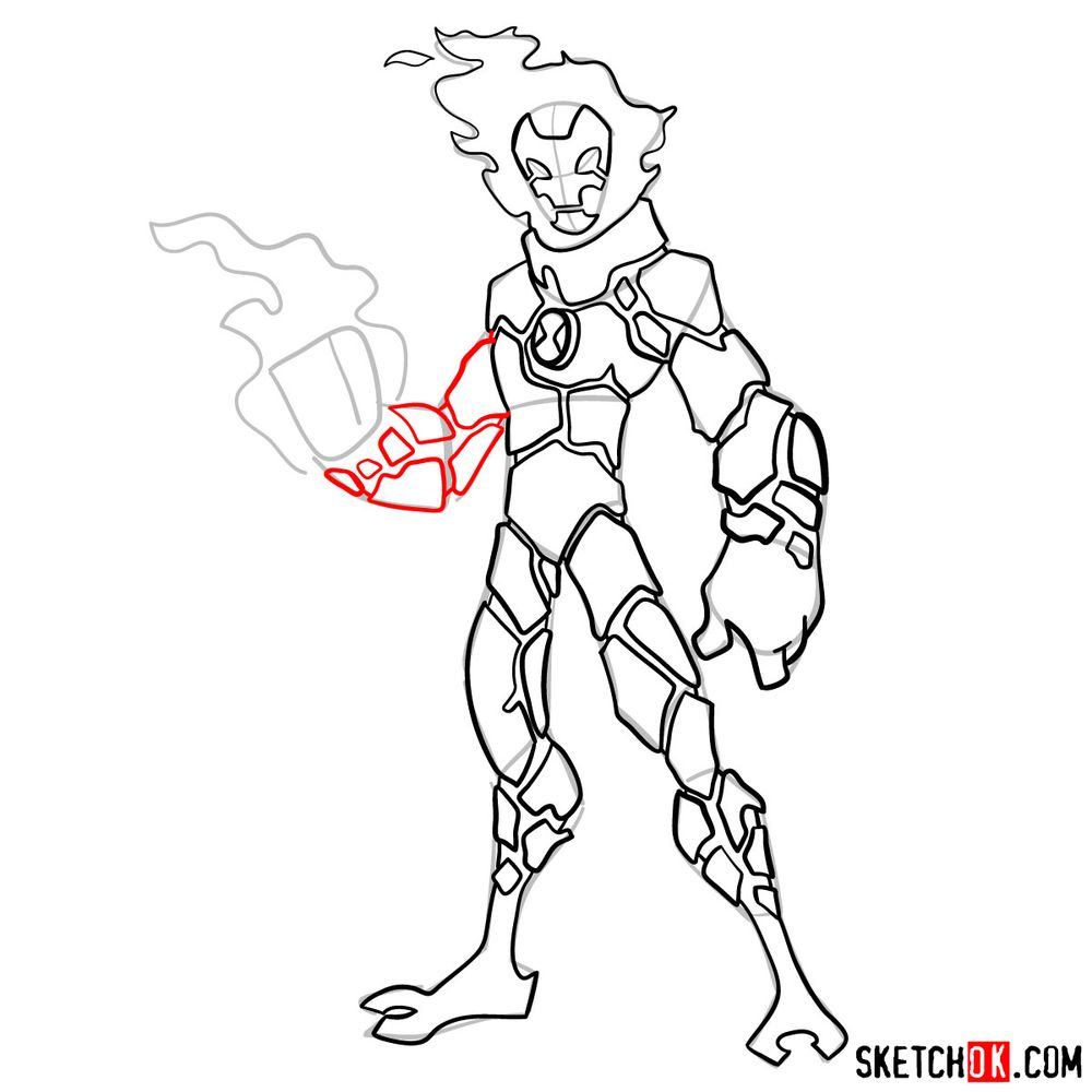 How to draw Heatblast from Ben 10 - step 11