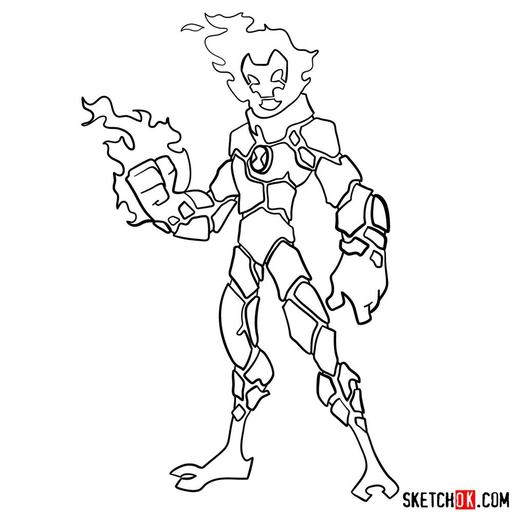 How to draw Heatblast from Ben 10 - step 13