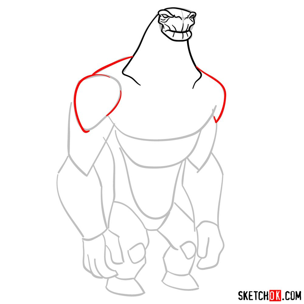 How to draw Humungousaur from Ben 10 - step 06