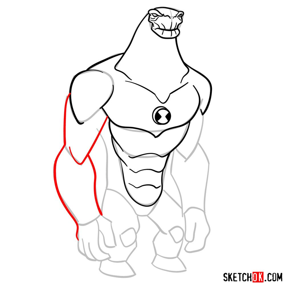 How to draw Humungousaur from Ben 10 - step 09