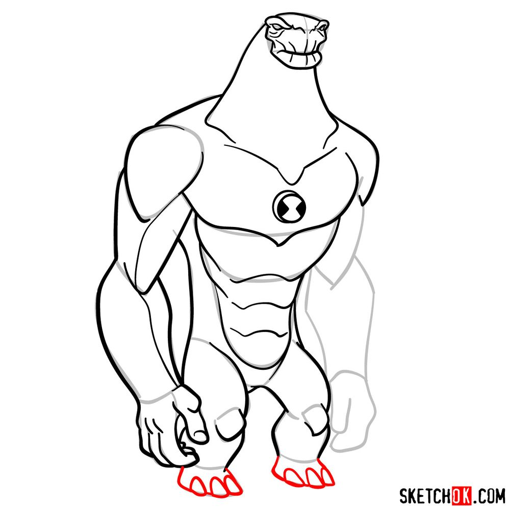 How to draw Humungousaur from Ben 10 - step 13