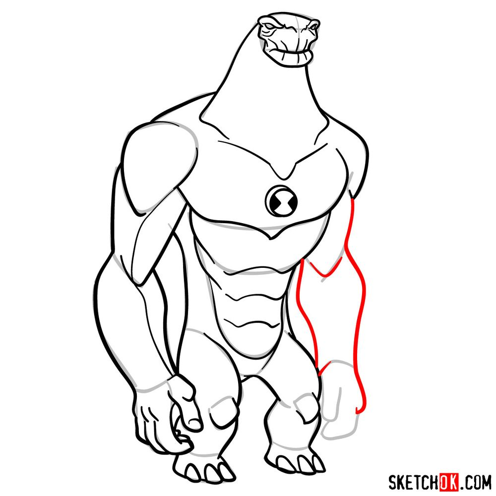 How to draw Humungousaur from Ben 10 - step 14