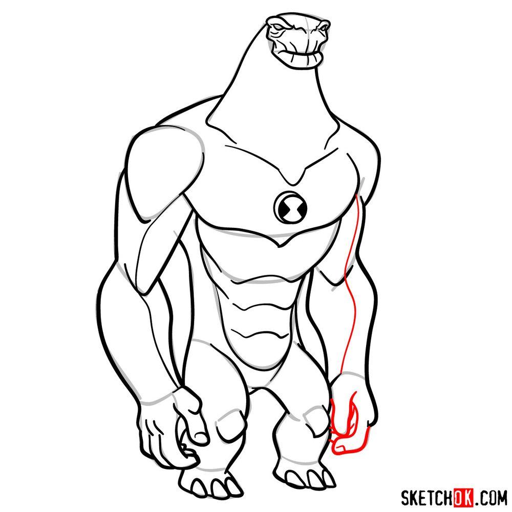 How to draw Humungousaur from Ben 10 - step 15