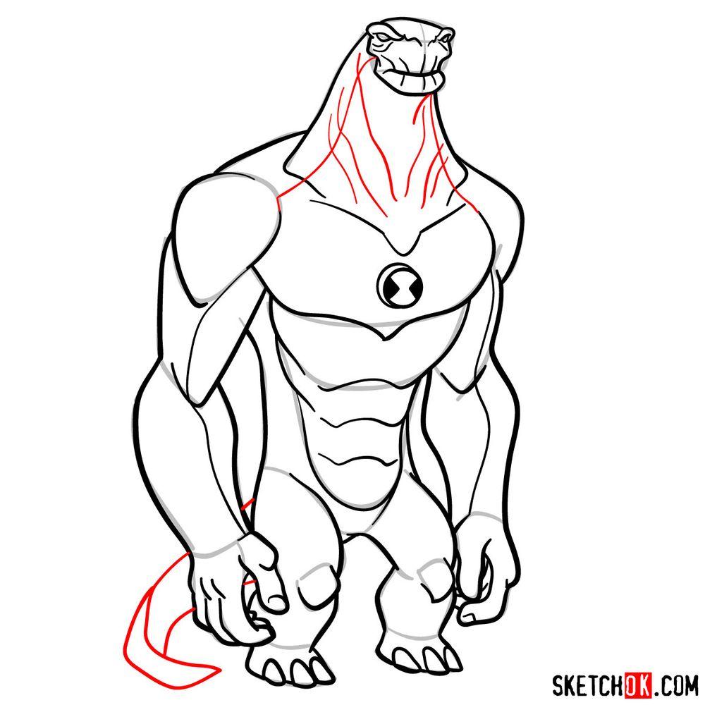 How to draw Humungousaur from Ben 10 - step 16