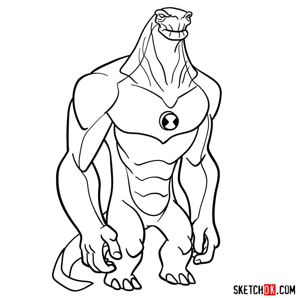 How to draw Humungousaur from Ben 10 - step 17