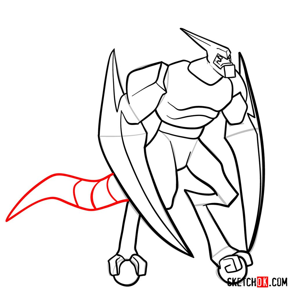 How to draw XLR8 from Ben 10 - step 14