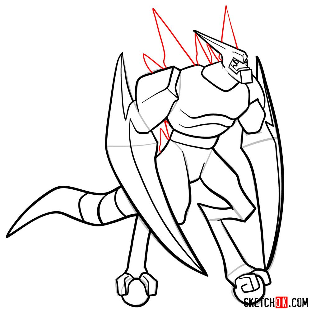 How to draw XLR8 from Ben 10 - step 15