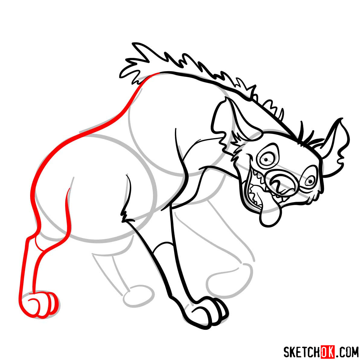 How to draw hyena Ed | Lion King - step 09