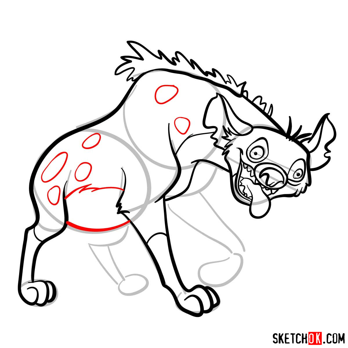 How to draw hyena Ed | Lion King - step 10