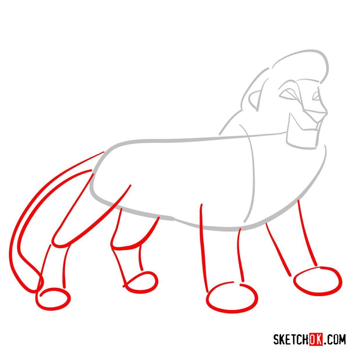 How to draw Kovu | Lion King - step 02