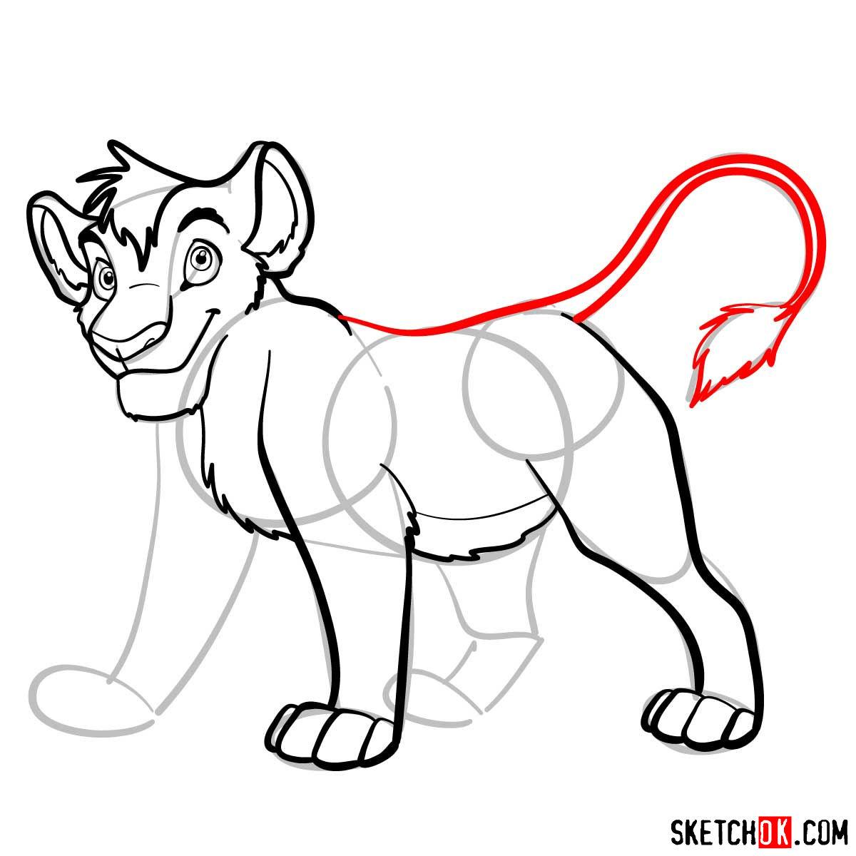 How to draw Kopa lion cub | Lion King - step 08