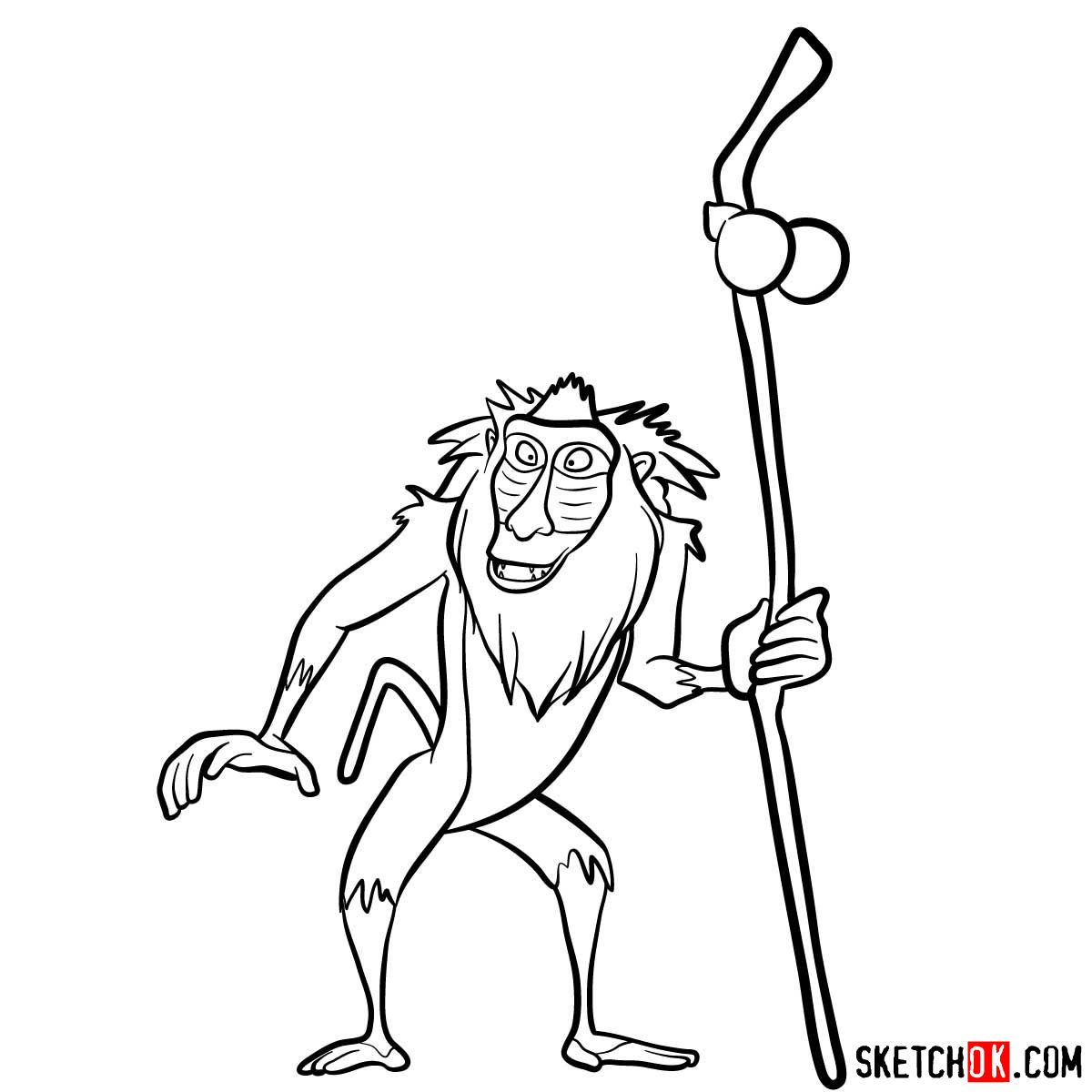 How to draw Rafiki