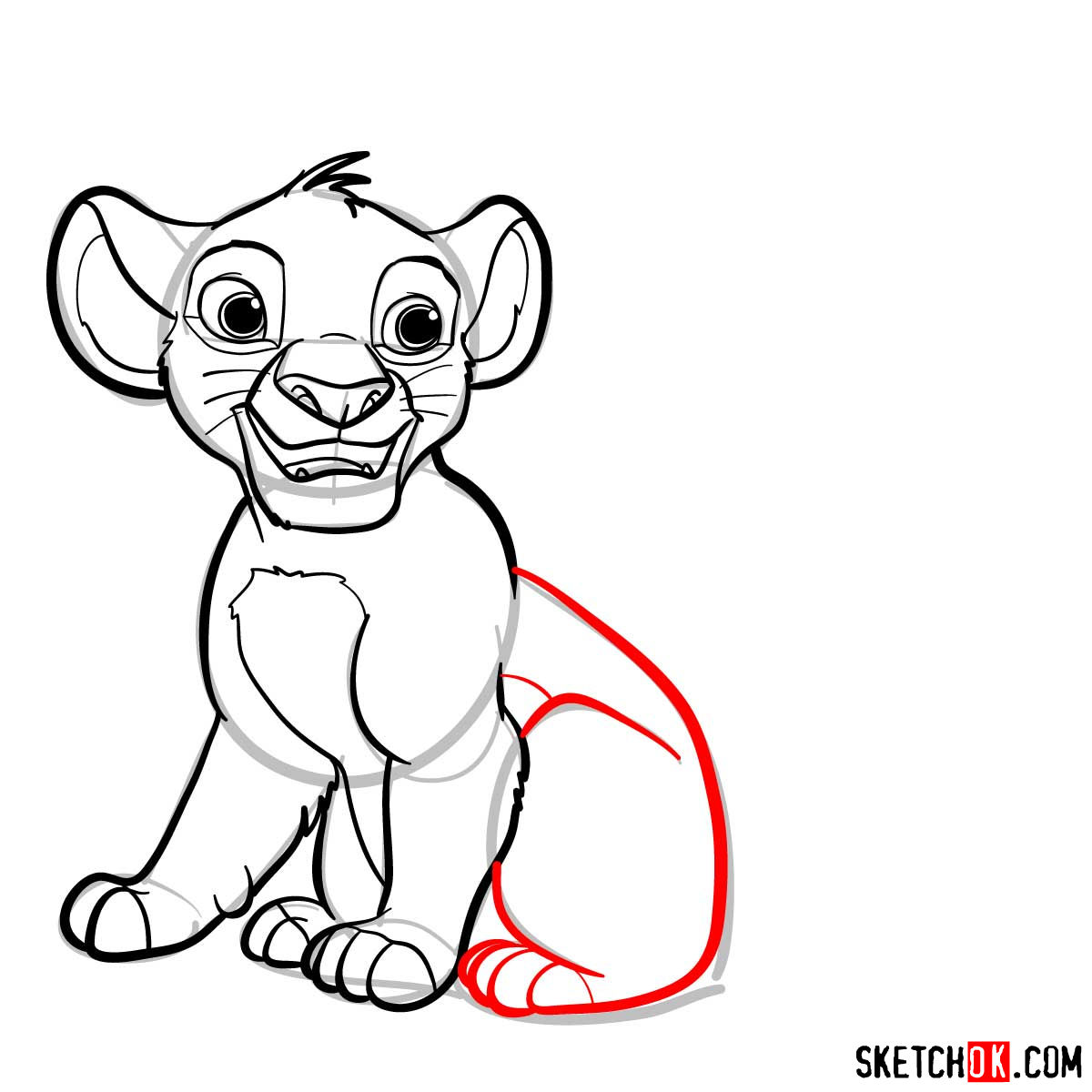 How to draw little Simba| Lion King - step 09