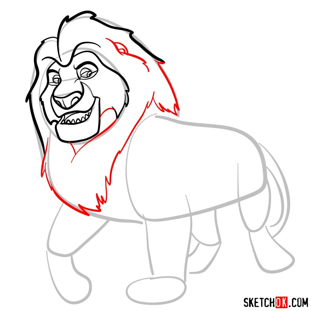 How to draw Mufasa | Lion King - step 06