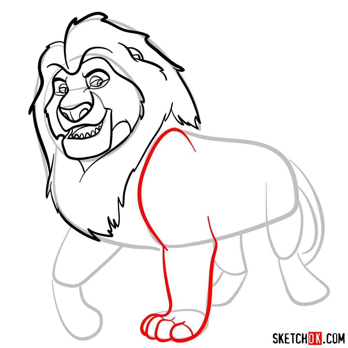How to draw Mufasa | Lion King - step 07