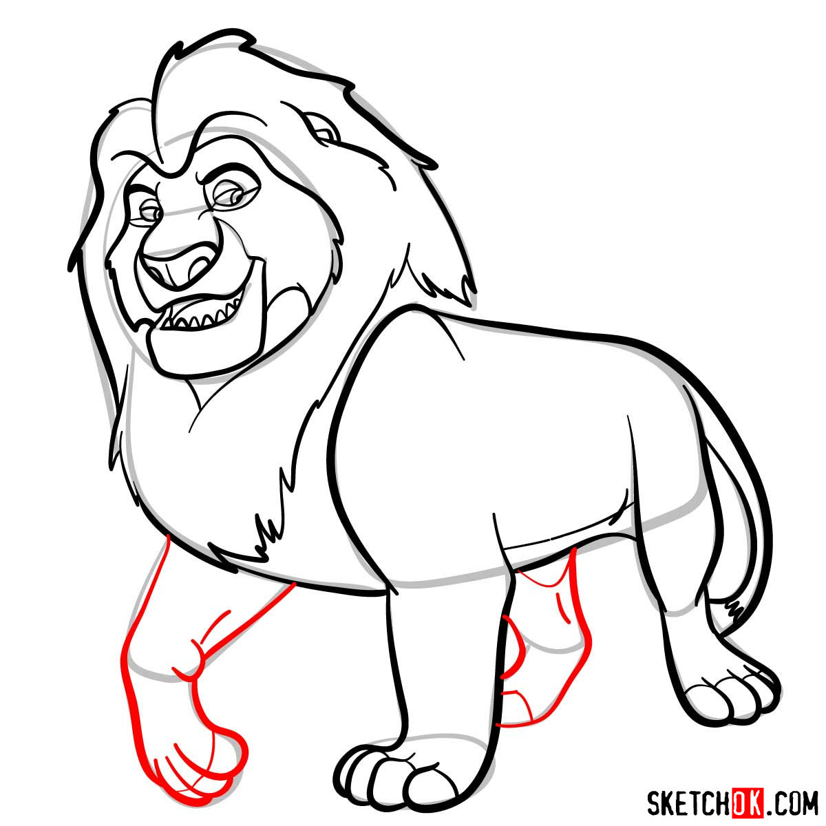 How to draw Mufasa | Lion King - step 10