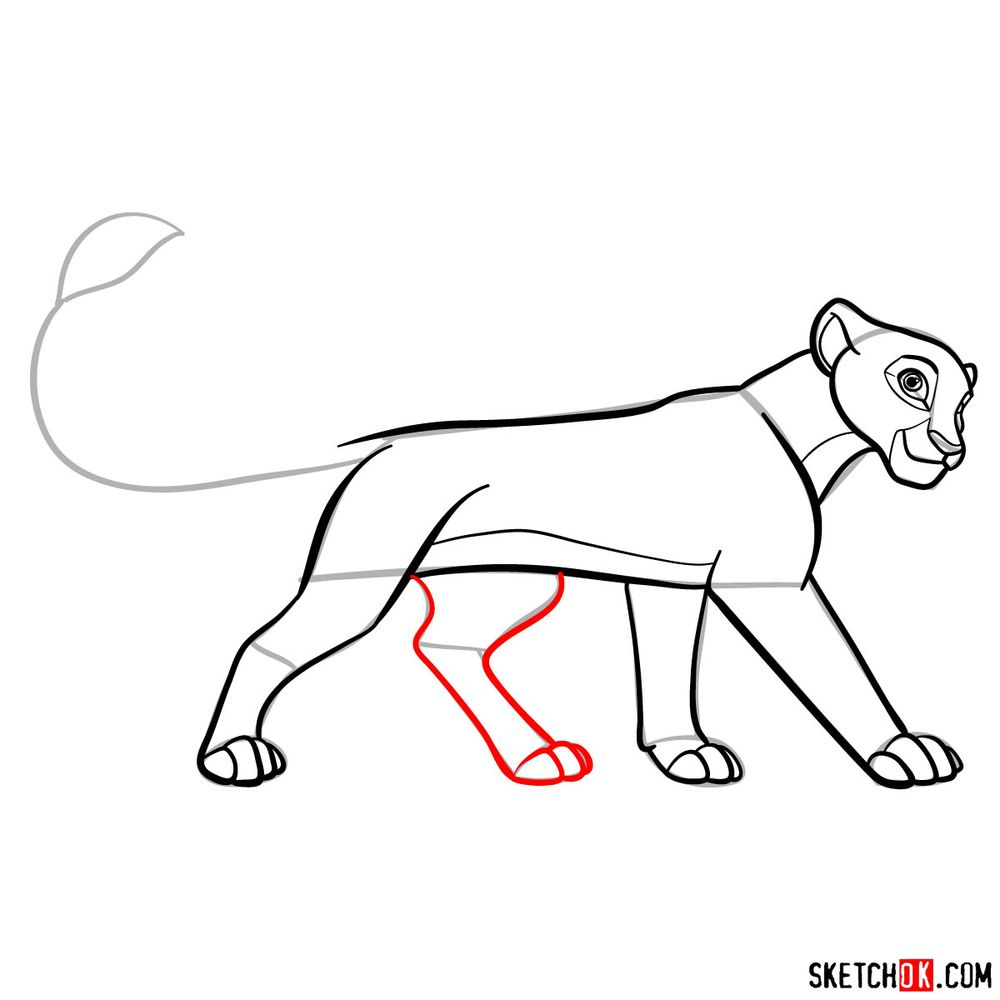 How to draw grown up Kiara (side view) - step 13