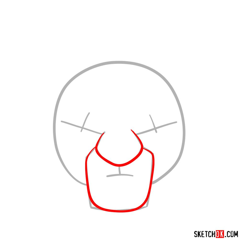 How to draw Kion's face - step 02