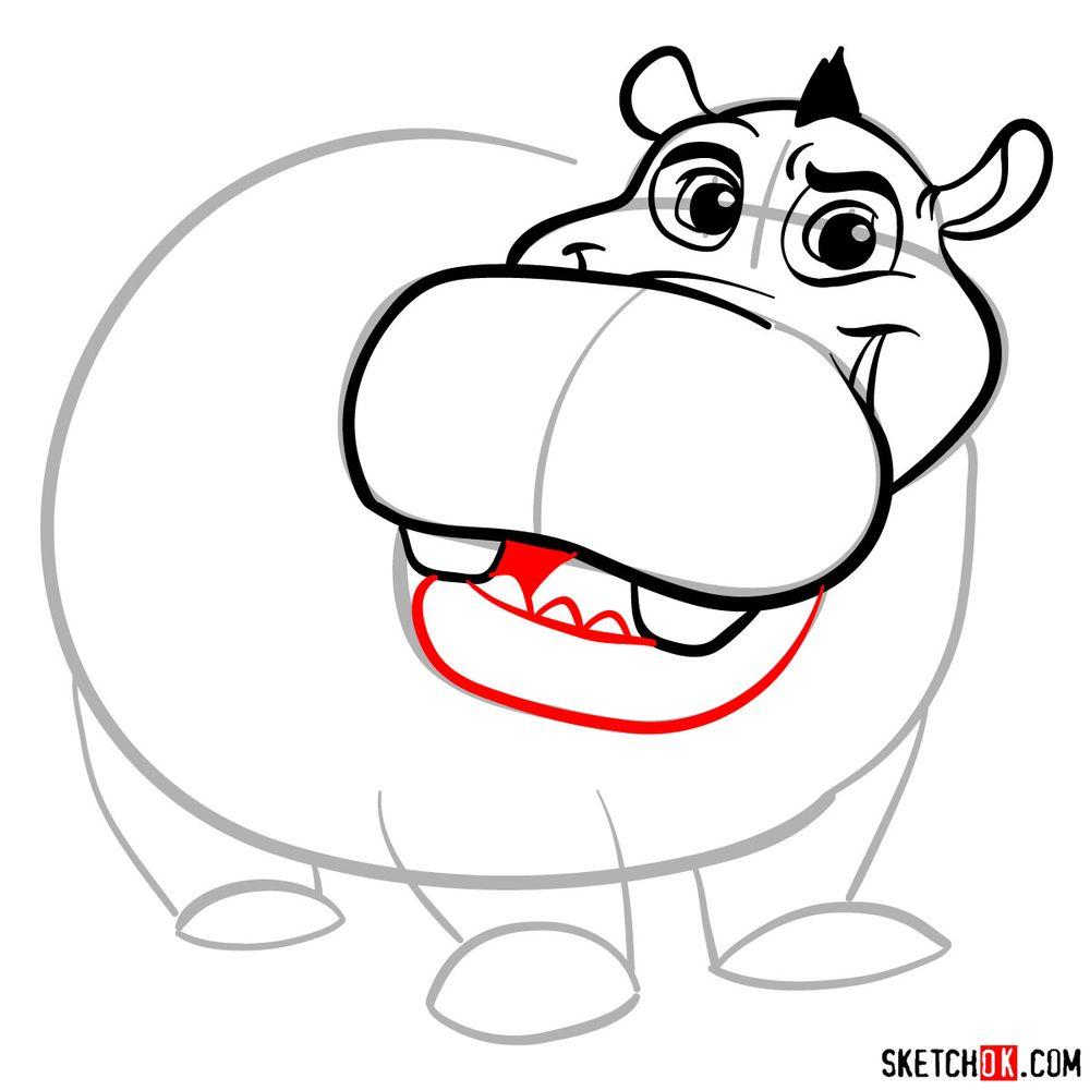 How to draw Beshte (a hippopotamus) - step 09