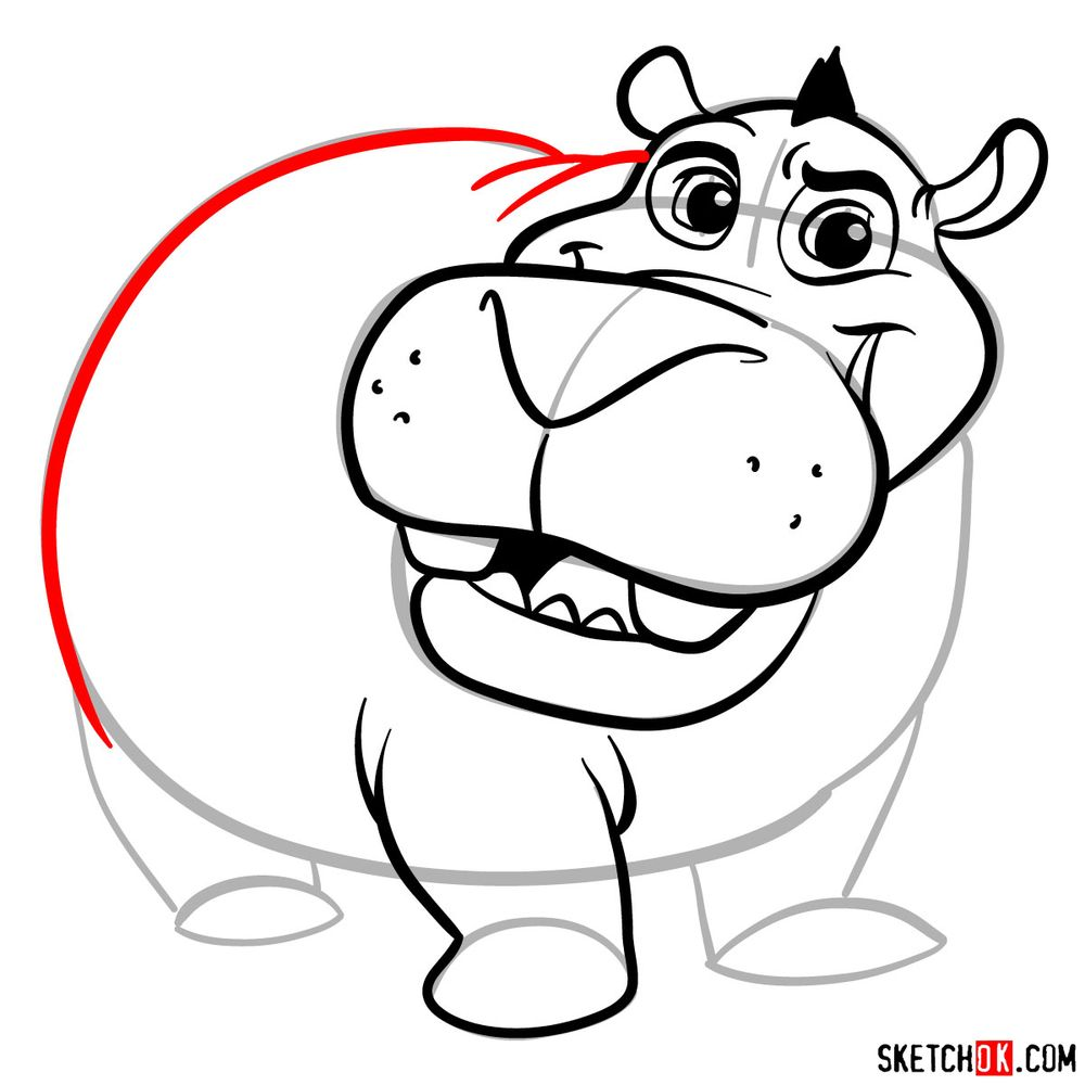 How to draw Beshte (a hippopotamus) - step 12