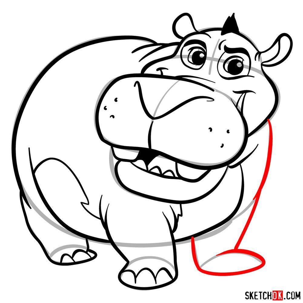 How to draw Beshte (a hippopotamus) - step 15